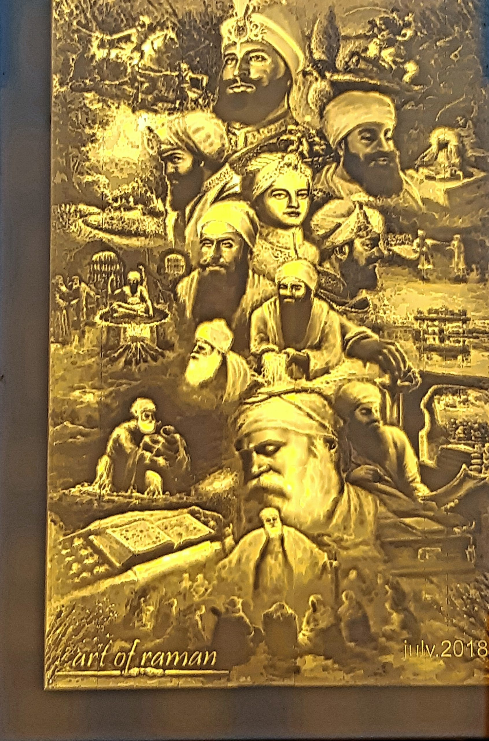 TEN SIKH GURUS ENGRAVED ON CORIAN FOR WALL ART
